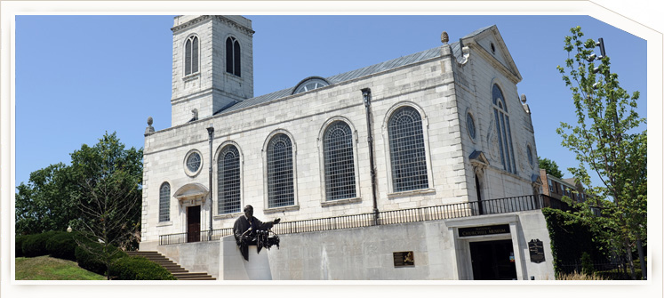 St Mary Aldermanbury now rebuilt at the National Churchill Museum. Photograph courtesy of the National Churchill Museum Collections'