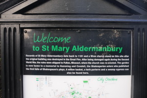 Sign at the entrance to the garden at St Mary Aldermanbury