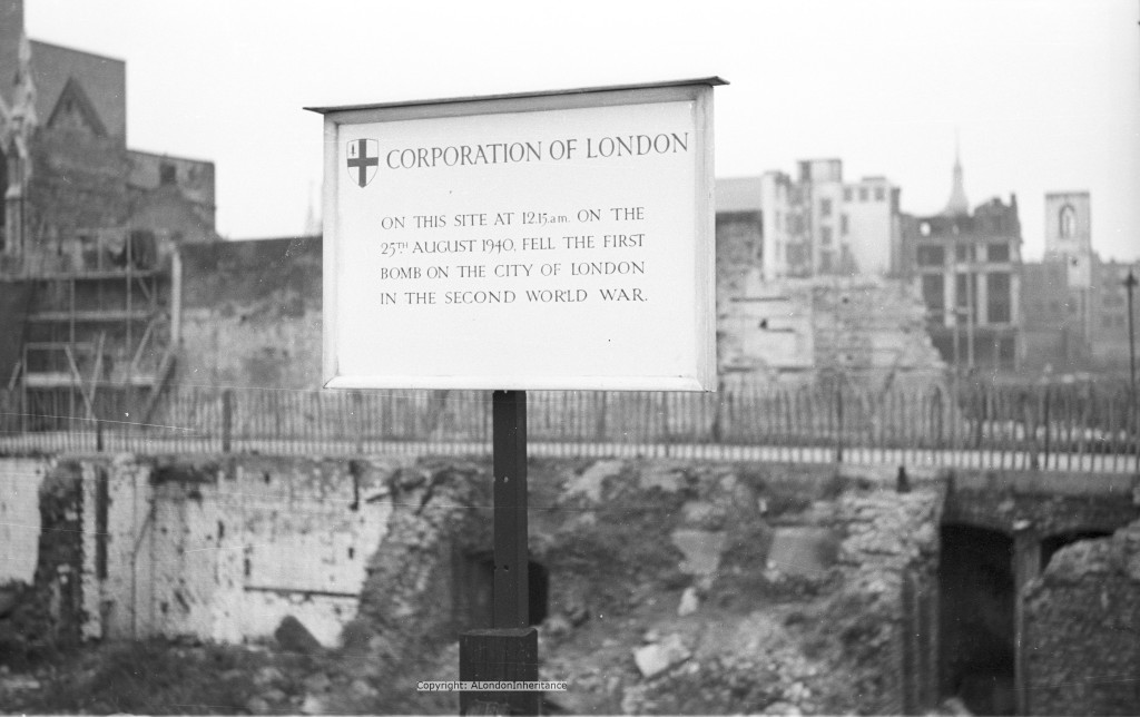 Site of the first bomb on central London during the Second World War