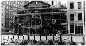 Scaffolding surrounds the Church of St. Mary in London, England. Photograph courtesy of the National Churchill Museum Collections'