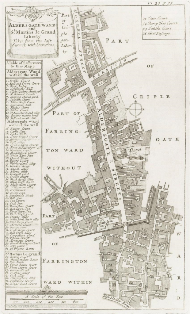 Map of Aldersgate Ward from John Strype's John Strype's 'A Survey of the Cities of London and Westminster'