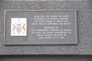 Plaque commemorating the location of where the fire began