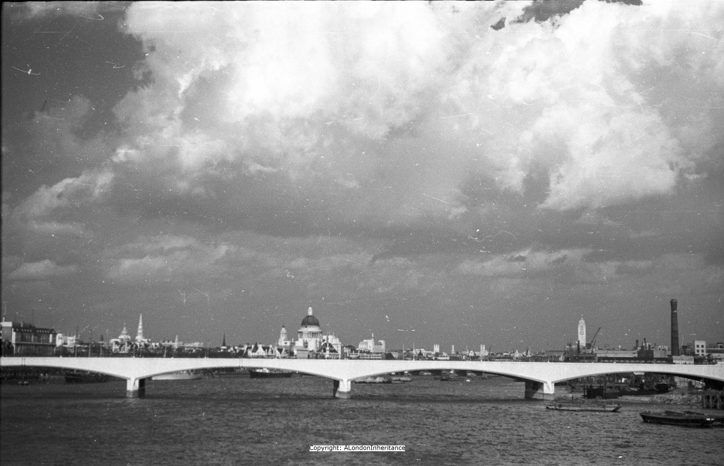 View from Hungerford Foot Bridge looking east in 1950.