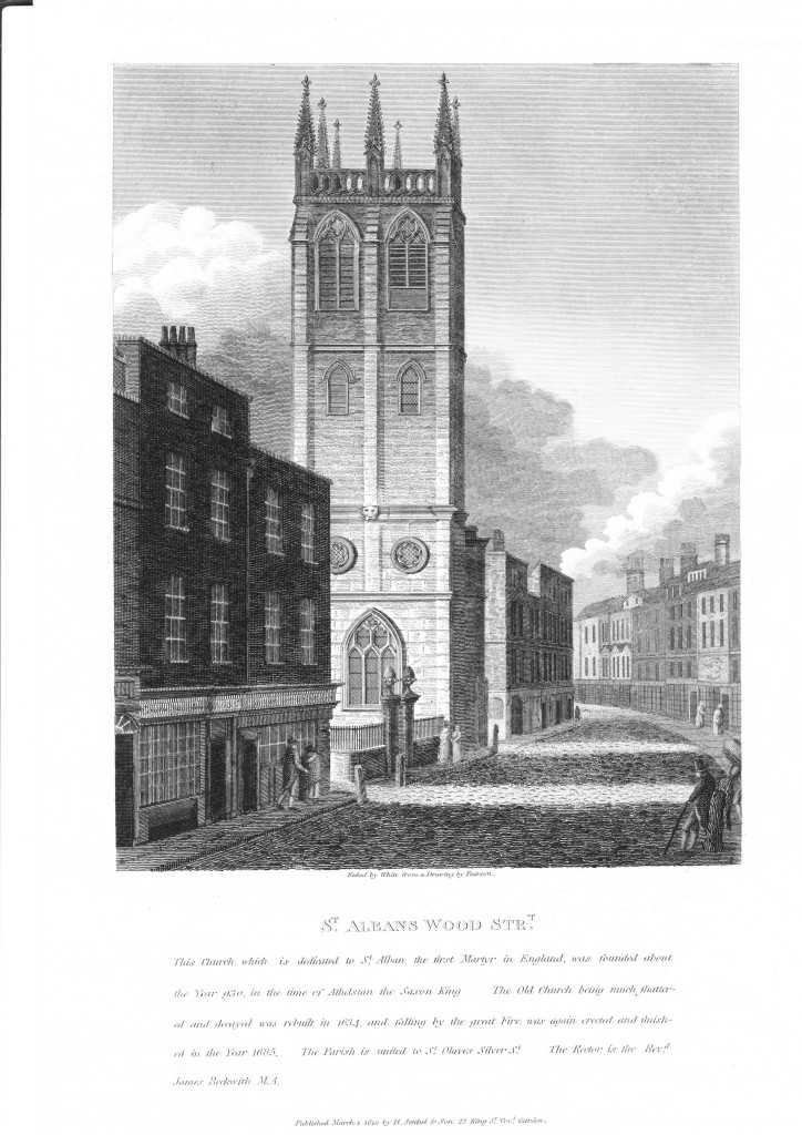 A view of the Wren church of St. Alban Wood Street as it stood in the early nineteenth century (1810). Engraved by William Johnstone White from an original drawing (now in the British Museum) by William Pearson.
