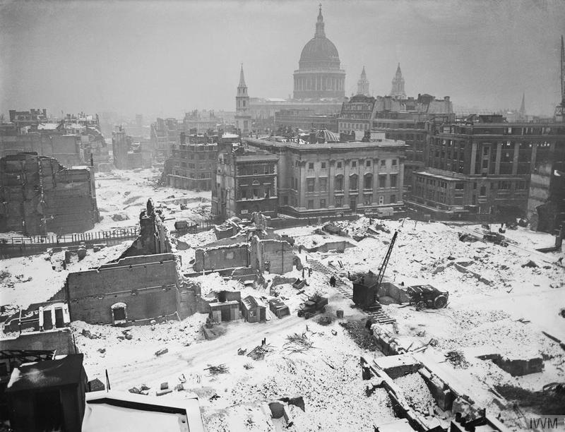 bombed london in the snow