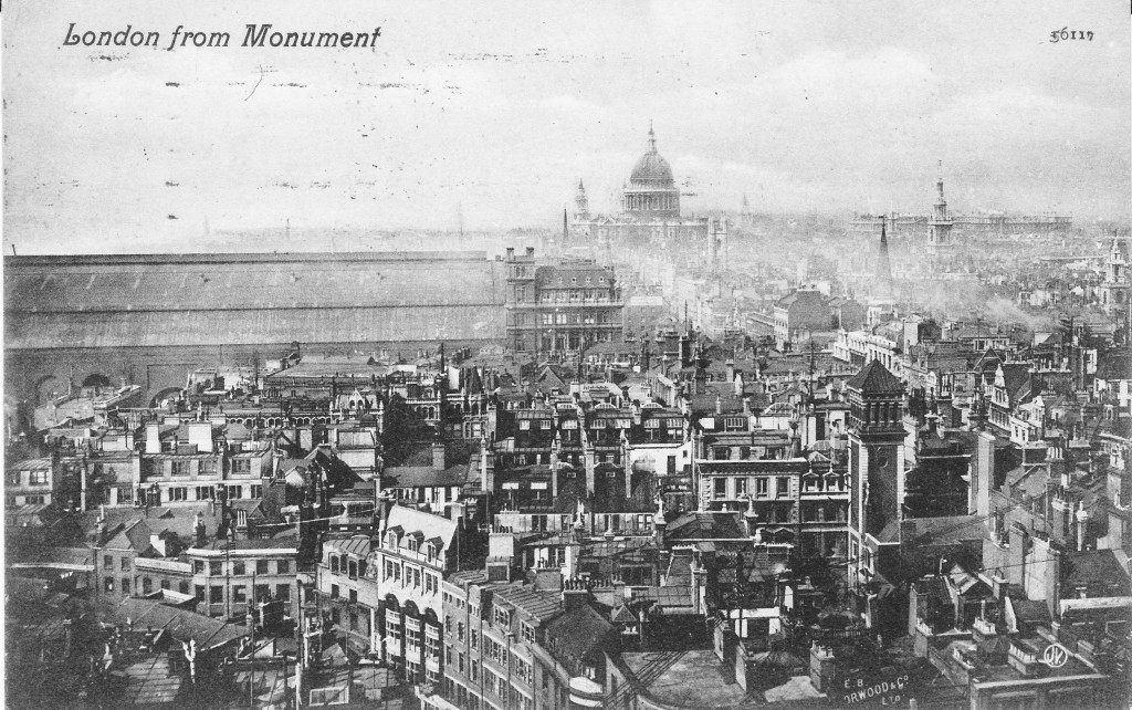 In The Following Postcard Photographer Has Moved Further Round Viewing Platform At Top Of Monument And Is Now Looking Towards Tower Bridge